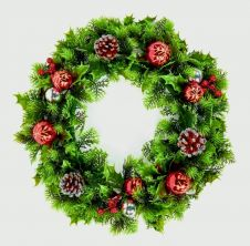 Premier Baubles Cone Wreath - Red & Gold 45cm
