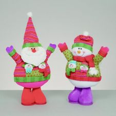 Premier Brights Santa-Snowman Standing With Boots - 42cm