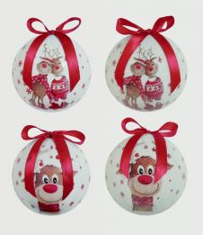 Premier Cute Reindeer Baubles - 75mm Assorted Designs Available