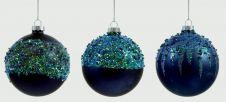 Premier Decorated Ball - Matt Dark Blue Glitter 80mm