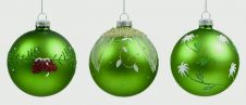 Premier Decorated Ball - Matt Green Cream Floral