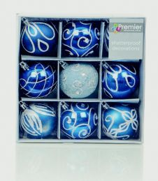 Premier Decorated Balls - Midnight Blue 9x60mm