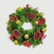 Premier Dressed Wreath - 40cm Gold