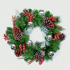 Premier Dressed Wreath - 40cm Silver