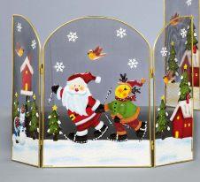 Premier Fireguard With Skiing Santa & Reindeer - 49cm