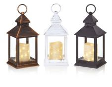 Premier Flicker Candle Lantern With Warm White & Cool White LED - 24cm