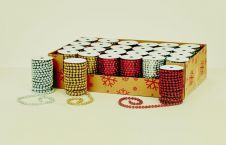 Premier Glitter Bead Roll Gold Red & Silver - 6m