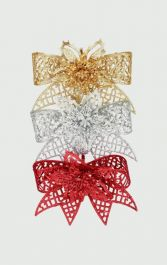 Premier Glitter Bow with Flower - 20cm, Assorted