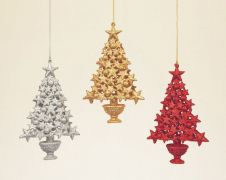 Premier Glitter Star Tree 3 Assorted Red/Gold/Silver - 16cm