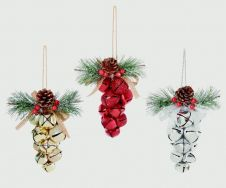 Premier Grape Bell Bunch - 14cm Red Gold Silver