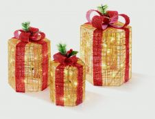 Premier Hexagonal Parcels With Bows - 3 Piece Gold Red