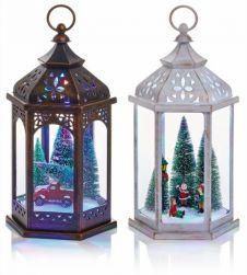 Premier Hexagonal Winter Scene Lantern - 33cm