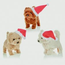 Premier Moving Puppy With Santa Hat - 15cm