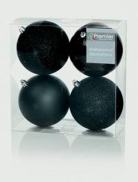 Premier Multi Finish Baubles 100mm - Black Pack 4