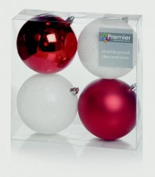Premier Multi Finish Baubles 100mm - Red & White Pack 4
