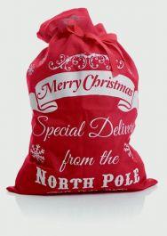 Premier North Pole Santa Sack Red Linen - 70 x 50cm