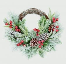Premier Rattan Wreath - Berries & Cones 45cm
