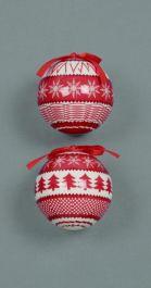 Premier Red & White Scandi Style Decoration - 75mm