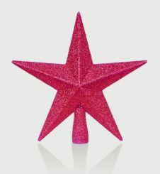 Premier Red Tree Top Star Glitter Finish - 20cm