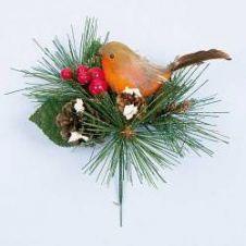 Premier Robin With Pine Cone Pick - 15cm