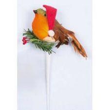Premier Robin With Santa Hat Pick - 10cm