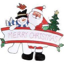 Premier Santa With Snowman Window Sticker - 38cm