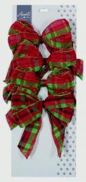 Premier Sheer Bows - 4 x 15cm Red Green Plaid Mix
