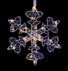 Premier Silver Flat Snowflake With Beads - 25cm Warm White LEDs