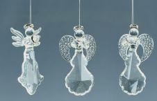 Premier Silver Glass Angels - 7cm