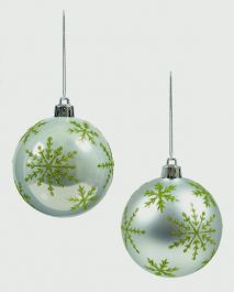 Premier Silver With Snowflake Ball - 80mm Assorted