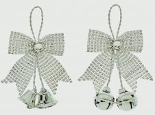 Premier Silverr Diamante Bow & Bell Trim - 18cm Assorted