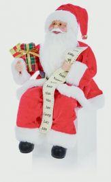 Premier Sitting Santa With Glasses - 30cm Red