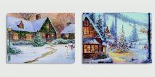Premier Snowy Cottage Scene Lit Canvas - 40 x 30cm