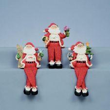 Premier Sparkle Snow Dangly Leg Santa - 20mm Red 3 Assorted
