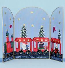 Premier Train Decoration - 12cm Red or Gold Glitter Trim
