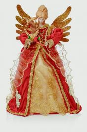 Premier Tree Top Angel - 30cm Red & Gold