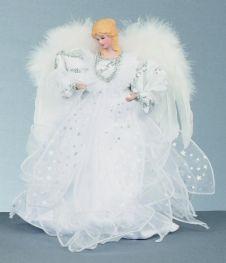 Premier Tree Top Angel - 30cm Silver White