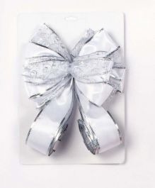 Premier Tree Top Bow - Silver And White 1.2M