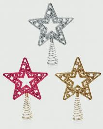 Premier Tree Top Star - 17cm (Red/Gold/Silver)