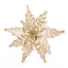 Premier Velour Clip On Poinsettia - 25cm Cream