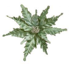 Premier Velour Clip On Poinsettia - 25cm Green