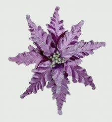Premier Velour Clip On Poinsettia - 25cm Purple