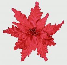Premier Velour Clip On Poinsettia - Red 25cm