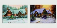 Premier Vintage Car Winter Lit Canvas - 40 x 30cm