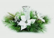 Premier White Poinsettia Candle Holder With Silver Leaf - 60cm