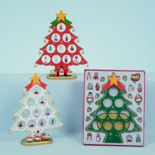 Premier Wooden Tree With 10 Hanging Decorations - 27cm Red/Green/White