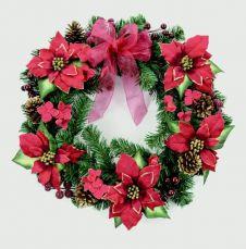 Premier Wreath Burgundy Redpoinsettia - 55cm