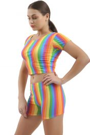 Rainbow Crop Top Short Sleeve