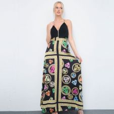 Printed Black Maxi Dress