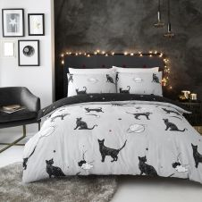 PRINTED DUVET SET ASTRO CAT GREY